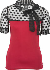 Küstenluder INGRID Vintage TULLE Punkte Polka Dots Ribbon SHIRT Rot Rockabilly