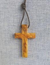 Kreuz, Halskette Holzkreuz Olivenholz mit Schnur- 5cm handgefertigt Bethlehem