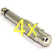 [4 pack] RCA Phono Socket to 6.35mm 1/4 inch Mono Jack Plug Adapter [004909]