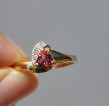 14K SOLID GOLD PINK TOURMALINE & NATURAL DIAMOND RING TRILLIAN BEAUTIFUL DESIGN