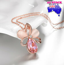 18K Rose Gold Plated Shinning  Flower Pendant Necklace with Pink Crystal