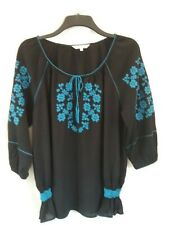 Embroidered Black And Blue Top Size 16.