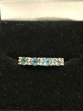 9ct Yellow Gold Blue Topaz And Diamond Band Ring Size L