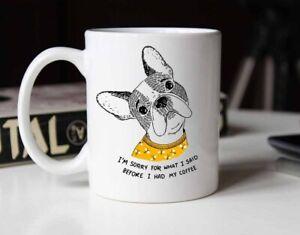 Cute French Bulldog Frenchie Coffee Mug Gift for Dog Lovers - Ceramic Mug 15oz