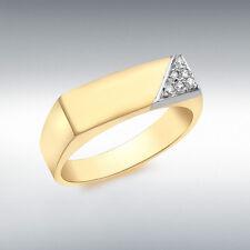Meilleur 9 ct Or Jaune Homme Diamant Chevalière Certificat Emballage Cadeau