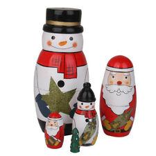 WOODEN Christmas Russian Nesting dolls vintage, gold, 3d beard santa claus xmas