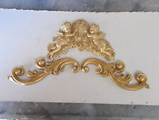 SET OF FURNITURE MOULDINGS PAIR OF ORNATE SCROLLS AND CHERUBS ANTIQUE GOLD