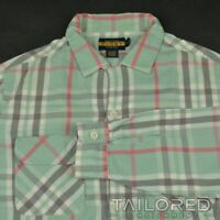 RUGBY RALPH LAUREN Green Plaid Check 100% Cotton Casual Dress Shirt - MEDIUM