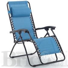Sedia a Sdraio Relax Pieghevole Multi Posizione da Mare Giardino Breeze Blu