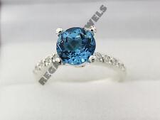 2 CT Round Cut Blue Sapphire & VVS1 Diamond Engagement Ring FREE SHIPPING