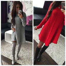 Damen Pullover Strickkleid Kleid Pulli Poncho Tunika NEU 36 38 40 S M L