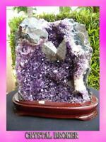 Uruguayan Amethyst Polished Cluster w/ Wooden Base & Natural Back Super Quality
