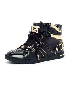 Michael KORS FULTON BLACK RARE MK EMBOSSED LOGO HIGH TOP SNEAKERS 5 I LOVE SHOES