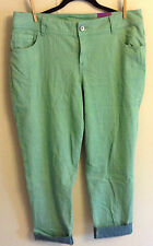 Women's Lane Bryant Green Skinny Cuffed Cropped Jeans Size 16 NEW