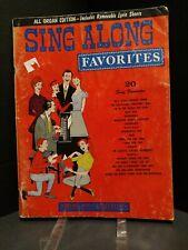 All Organ Sing Along Favorites 1963 Sheet Music Songbook 20 Songs T59