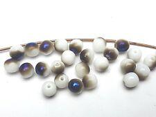 50g böhmische Rocailles Seed beads weiß Perlmut irisierend 5 mm 4//0