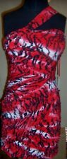 Dress Red Print Ruched Bodycon Summer Forever Unique Summer Misses size 4 New