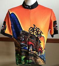 Sugoi Cycling Jersey Shirt Size M Woody Wagon Bikes Surfboards Sun Hawaiian