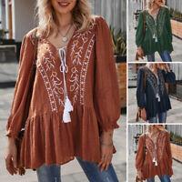 ZANZEA Womens Long Sleeve V Neck Embroidered Floral Top Tee Bohemia Shirt Blouse