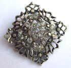 broche bijou vintage couleur argent déco relief avec cristaux diamant 2978
