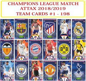 Topps Champions League Match Attax 2018 2019 18 19 Team Cards #1 - 198