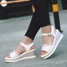 Sandalias elegantes zuecos cuña zapatillas 6 blanco cómodo como piel 9804