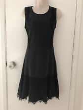 C By Bloomingdales Cashmere Black Grey Lace Women's Classic 2 Ply Dress Size XS