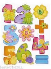 3D-Bogen Sticker Zahlen XXL 1-10 + Zusatzsticker Blumen,Minus,Plus,Mal,geteilt