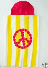 Jumping Beans Pink Peace Sign Beach Towel Hooded Bath Wrap Striped 30x50 Nwt $30