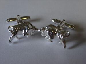 sterling silver bull swivel cufflinks uk made