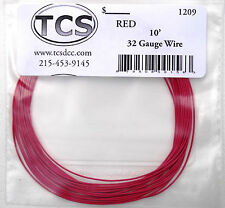 "Wire 32awg 10ft Red, 18 strand wire outside diameter 0.022"" (.0559cm)"