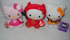 #7304 NWT 2 TY & 1 Jakks Pacific Valentine & Halloween Hello Kitty Plush