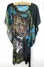 Tunic Kaftan T-shirt Blouse Top Tee Mini Dress Plus Size 8-18 16 14 Blue Tiger