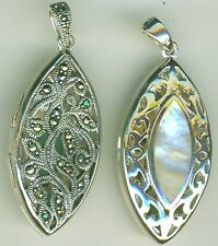 Sterling Silver White Mother of Pearl & Marcasite Locket Reversible Pendant 8+g