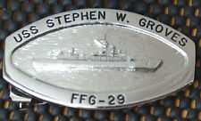 USS Stephen W Groves (FFG-29) Official Crew Belt Buckle Silver Tone female