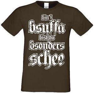 Trachten T-Shirt Herren Volksfest Oktoberfest Trachtenshirt Bin i bsuffa braun