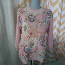 Vintage 80's Chaus pink fairy kei embelliahed long sleeve cotton sweater size S