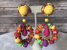 Vtg Massive Bright Colorful Pierced Dangle Earrings Pink Purple Yellow  Runway