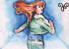 ORIGINAL WATERCOLOR PAINTING Young Girl Escape Run Movement Action Drawing Study