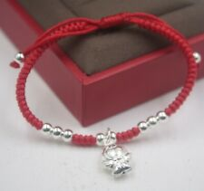 Sterling S925 Silver Bracelet Woman & Baby's Lucky Angel Red Knitted Bracelet