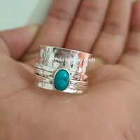 Spinner Ring Turquoise 925 Sterling Silver Band Handmade Jewelry All Size p-13