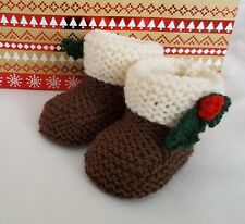 Knitting Pattern DK 71 TO KNIT Christmas Pudding Baby Booties in 3 Sizes
