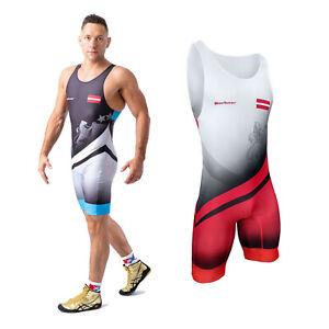 Men's Wrestling Suit Singlet Bodysuit Berkner LATVIA Ringertrikot UWW