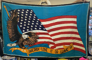 America Love It Or Leave It Wall Tapestry. American Flag And Eagle 132 X 82 Cm