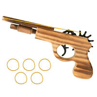 Classical Rubber Band Launcher Wooden Hand Pistol Gun Shooting Toy Guns Gifts