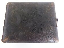 Antique Victorian Leather Bound Photograph Album with Brass Clasp