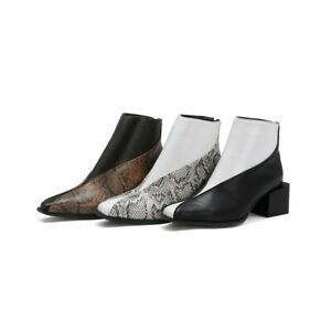 Ladies Ankle Boots Synthetic Leather Shoes Mid Heels Back Zipper Women's Pumps