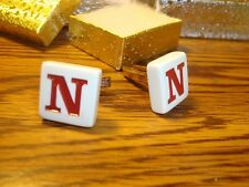 """"""" N """" Monogram Letter Initial SILVER Plated Cufflinks 1 Pair (Two)  Red/White"""