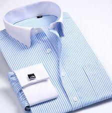Mens Shirt Stripe Luxury Double French Cuff Business Black Blue Purple KM6340