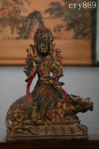 "12.8""China antique copper Lacquer Painted Manjusri Buddha statue"